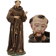 SALE Statue of Francis of Assisi from South Italy / 18th - 19th Century / Carved Wood, Fabric