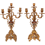 SALE 18th Century Pair of Rococo Bronze Candelabras / Candlesticks with Enamel and Gilt