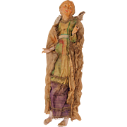 SALE 18th Century Neapolitan Creche Figure of Old Lady - Terracotta & Silk