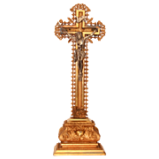 SALE 19th Century Crucifix with depiction of lamb / Wood, Gesso, Metal, Gilt