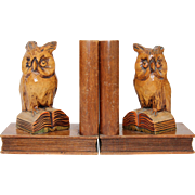 Midcentury Pair of Owl Bookends - Fine Carved Wood Black Forest Germany