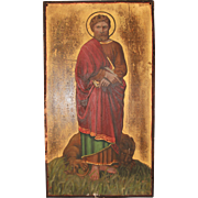 SALE 19th Century Gothic Revival Painting of St. Mark the Evangelist on Wood Panel - Polychrom