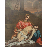 SALE 18th Century Baroque Oil Painting of Virgin Mary with Dead Jesus ( Pietà ) Italy