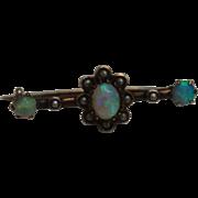 SALE Victorian Opal, Pearl & Silver Decorative Pin Brooch