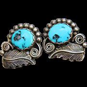 Native American Sterling Turquoise Earrings - Handmade