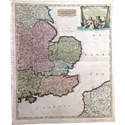 SALE Beautiful Antique map of South-East England incl. London (F. de Witt ca 1700)