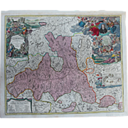 SALE Rare antique Map of The Region around Salzburg Austria (Johann Baptist Homann circa 1720)