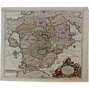 SALE Rare 18th Century Baroque Map of Utopia / Cockaigne / Schlaraffenland (Matthaus Seutter)