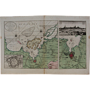 SALE Very Scarce Map / Sea Chart of Wismar during the Siege of 1715/16 with ...