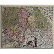 SALE 17th Century Antique map of the historical Ecclesiastical principality of Liege, Belgium