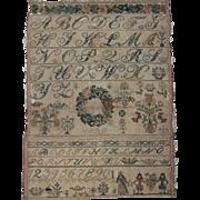 SOLD 1839 Needlework Sampler from Germany - Beautiful Biedermeier Animal and Flower Designs