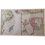SALE Rare Original Map Sea Chart of northern Baltic Sea (Keulen circa 1700)