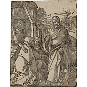 SALE Original Albrecht Dürer Woodcut of Small Passion - Christ Taking Leave of His Mother (B