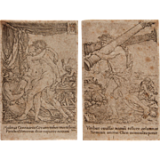 "SALE 16th Century Set of 2 Copper Engravings from ""The Labors of Hercules"" by Old .."