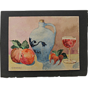 SALE 1910's Art Nouveau Still Life by Franz Brantzky / Aquarelle Watercolor Painting from ...
