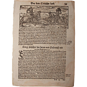 """16th Century Woodcut of knights / Book page of Cosmographia (Sebastian Münster) - """"About"""