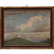 """SALE Otto Fikentscher Oil Painting """" Bull on a Hill """" circa 1900 (Germany)"""
