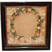SALE Antique Biedermeier Silk Flower Mourning Wreath in Shadow Box Frame
