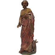 SALE 1800s Original Gothic Revival Statue St. Luke the Evangelist - carved wood (German)