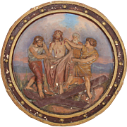 19th Century 10th Station of the Cross (Jesus is stripped of his garments) Polychrome Gesso