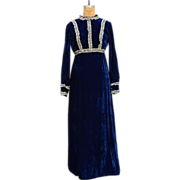 SALE Stunning Vintage Blue Velvet and Lace Maxi Dress