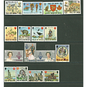 SOLD Isle of Man Postage Stamp Lot From the 1980's in Mint Never Hinged Condition - Lot #8