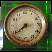 Art Deco Green Glass Clock in Working Order c1920-1930
