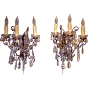 A Pair of French Crystal 3-Light Sconces, c. 1900