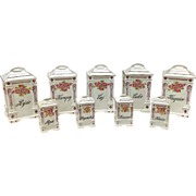 Victoria Austria 9-Piece Porcelain Canister and Spice Set, c. 1904-1918