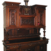 Antique French Renaissance Highly Carved Buffet Sideboard, c 1900
