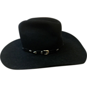 SALE Vintage Black Stetson 10 X Beaver Cowboy Hat with Custom-made Hatband of Solid ...