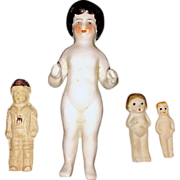 "5"" German Frozen Charlotte China Doll and Three Frozen Babies"