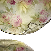 Two Royal Bayreuth Rose Tapestry Pattern Plates