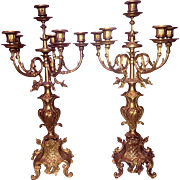 Pair of Brevettato Imperial Brass 5-Arm Candelabras Made in Italy, C. Early 1900s