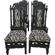 Set of 6 Ebony Wood/Black Forest Carved Antique Dining Chairs, c. 1890
