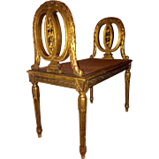 19th Century French Louis XVI Style Giltwood Caned Window Bench