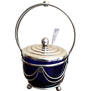 English Silver Plate Sugar Basket with Cobalt Blue Glass Liner, c. 20th Century