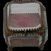 19th Century French Glass Casket/ Trinket Box C.1870