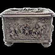 SALE Napoleon III French Plated Metal Figural Coffre/Box c. 1860