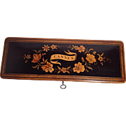 Antique French Marquetry Pen/Pencil Box- From Cannes
