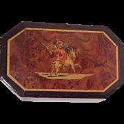 Antiques French Marquetry Trinket Box Goat/Cherub. .1890