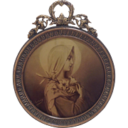 Miniature French Madonna in Gilt Metal Circular Frame C.1900