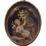French Souvenir Picture of Saint Anthony of Padoue and Brive and Child.