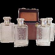 SALE French Antique Traveling Case/Stirling Silver Cologne/Perfume Bottles. Paris. C.1889