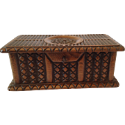 French Antique Carved Marriage Keepsake Box. C1890