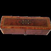 SOLD Napoleon III French Burr Walnut Marquetry Trinket, Jewel /Gloves Box.C.1870.
