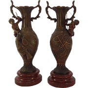 SALE Superb Pair of French Patinated Spelter Cherub Vases. Hunting Fishing. Marble Bases C.190