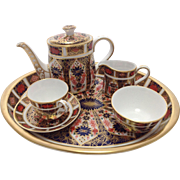 Boxed Royal Crown Derby Old Imari, Miniature Tea Set 1128 with Certificate.