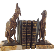 SOLD Pair of French Art Nouveau Bronzed Spelter and Marble Greyhound Dog Bookends. C.1900