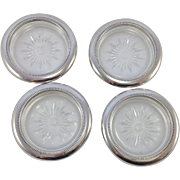 SOLD Set of Four Vintage Italian Cut Glass Coasters With Silver Plated Rim. C.1950's